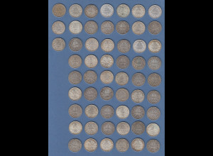 Dt. Kaiserreich Posten 57 Stück Silbermünzen 1 Mark Dt. Kaiserreich