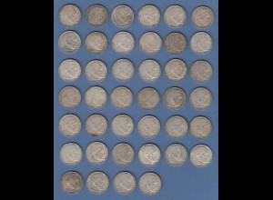 Posten 40 Stück 2-Reichsmark Silbermünzen Hindenburg