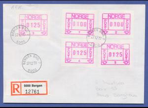Norwegen Frama-ATM 1978, R-Brief mit 5 ATM aller Aut.-Nr. 1-5, O Bergen