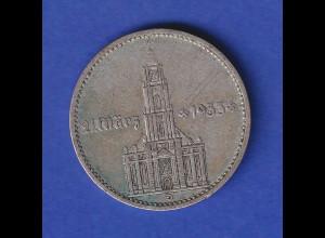 2-Reichsmark Silbermünze Garnisons-Kirche Potsdam mit Datum, 1934 D
