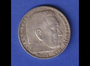 5-Reichsmark Silbermünze Hindenburg mit Hakenkreuz 1939 E
