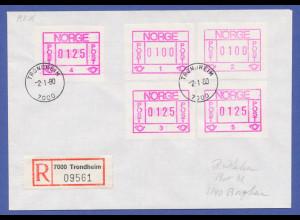Norwegen Frama-ATM 1978, R-Brief mit 5 ATM aller Aut.-Nr. 1-5, O Trondheim