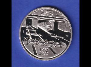 Belgien Silbermünze Nord-Süd-Zugverbindung 1952-2002 10 Euro PP