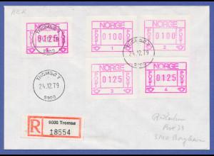 Norwegen Frama-ATM 1978, R-Brief mit 5 ATM aller Aut.-Nr. 1-5, O Tromsö