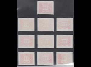 Griechenland: Frama-ATM 1. Ausgabe 1984, je eine ATM von allen Aut.-Nr. 001-010