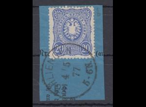 Deutsches Reich Mi.-Nr. 34a auf blauem Briefstück, O SCHLIENGEN 4.5.77