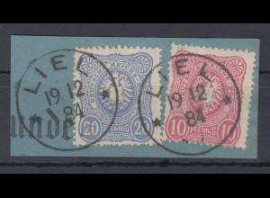 Deutsches Reich Mi.-Nr. 41 und 42 auf Briefstück, O LIEL 18.12.84
