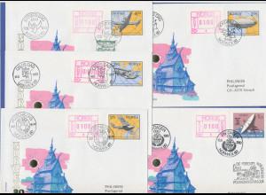 Norwegen Frama-ATM 1978, 5 Briefe von der NORWEX80 mit allen Aut.-Nr. 1-5 (1)