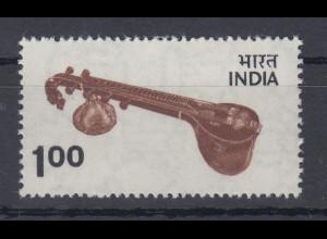 Indien 1974 Freimarke 1R Musikinstrument Mi.-Nr. 602 **