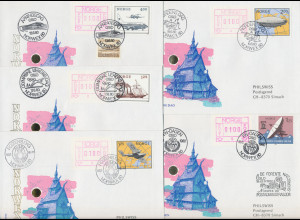 Norwegen Frama-ATM 1978, 5 Briefe von der NORWEX80 mit allen Aut.-Nr. 1-5 (2)
