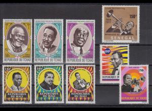 Afrika schwarze , US-Musiker Lot 9 Werte ** aus Tschad, Senegal, Niger, Mali