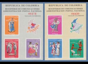 Kolumbien 1971 EXFICALI'71 Trachten und Tänze, Mi.-Nr. Block 33 und 34 **
