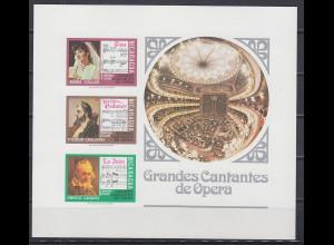 Nicaragua 1975 Blockausgabe Opern und Opernsänger (-innen) Mi.-Nr. Block 83 **