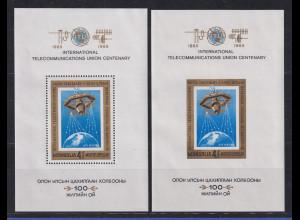 Mongolei 1965 100 Jahre UIT Raumstation Mi.-Nr. Block 10 A und B **