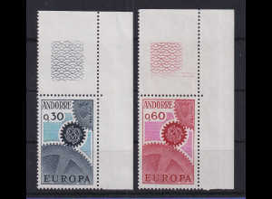 Andorra franz. EUROPA-CEPT 1967 Mi.-Nr. 199-200 Eckrandstücke **