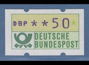 ATM mit blauviolettem Werteindruck, sog. BLAUE MÜNCHNER,1982, Wert 50Pfg **