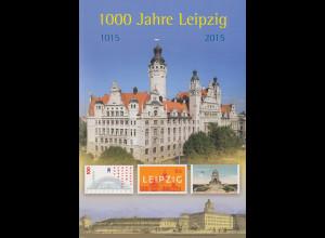 1000 Jahre Leipzig, 1015-2015 A4-Klappfolder der Dt.Post mit 15 postfr. Marken
