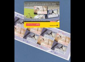 2009 Leichtathletik-WM Markenheftchen ** mit 8 Marken 45 und 55 Cent, MH 80
