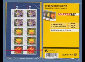 MARKENSET Ergänzungswerte mit 1x ZSD Blumen kl. Werte Mi.-Nr. 2480, 2484, 2471