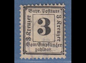 Bayern Portomarke 3Pfg schwarz Mi.-Nr.3X gest. gepr. mit KB Sem BPP