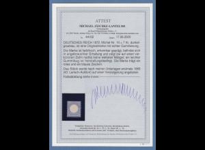 Dt. Reich kleiner Brustschild 7 Kr blau Mi.-Nr. 10 * mit Fotoattest Jäschke BPP