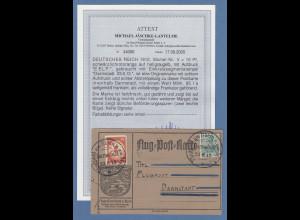 Dt. Reich 1912 Halbamtliche Flugpost E.EL.P. 10Pfg. Mi.-Nr. V auf Karte, Attest