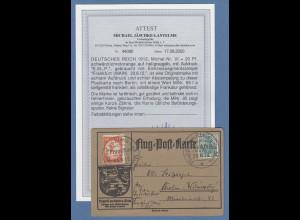 Dt. Reich 1912 Halbamtliche Flugpost E.EL.P. 20Pfg. Mi.-Nr. VI auf Karte, Attest