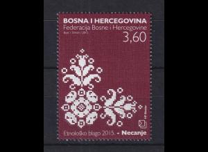 Bosnien (kroatische Post) 2015 Necanje-Spitze Mi.-Nr. 416 **