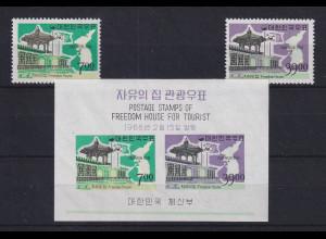 Korea Süd 1966 Freedom House Mi.-Nr. 518-19 und Block 223 **