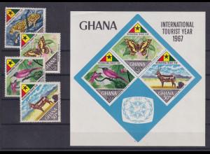 Ghana 1967 Jahr des Tourismus Mi.-Nr. 326-29 und Block 29 **