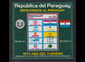 Paraguay 1974 Blockausgabe Bl. 217 Jahr des Tourismus **