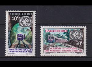 Congo 1969 Jahr des afrikan. Tourismus Eisenbahn Mi.-Nr. 192-93 Satz 2 Werte **