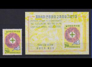 Korea Süd 1968 Ostasiat. Reise-Konferenz Mi.-Nr. 609 und Block 272 **