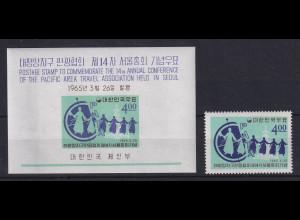 Korea Süd 1965 Pazifik Reise-Konferenz Mi.-Nr. 477 und Block 202 **