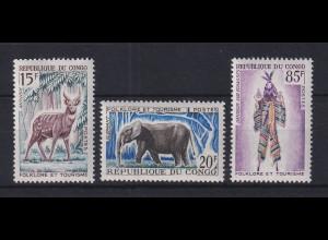 Kongo 1965 Tourismus Folklore und Fauna Mi.-Nr. 64-66 Satz 3 Werte **