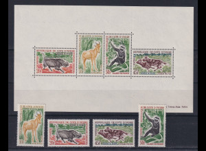 Elfenbeinküste 1963 Fauna Mi.-Nr. 251-54 und Block 2 **