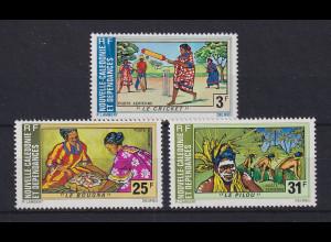 Neukaledonien 1975 Folklore Mi.-Nr. 560-62 Satz 3 Werte **