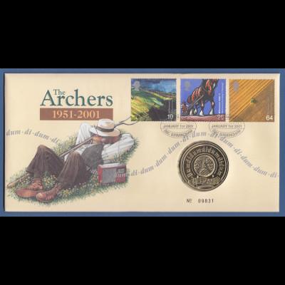 Großbritannien Coin-FDC 2001, The Archers 1951-2001, mit Gedenkmedaille