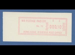 Hongkong sog. Notbehelfs-ATM, Aut.-Nr. 72, Einzelwert 000,10 **