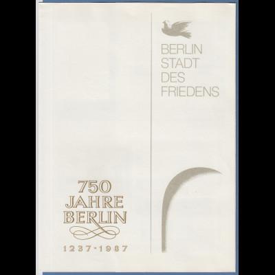 DDR 1987 Gedenkfolder 750 Jahre Berlin 1237-1987 mit div. Marken, Blocks, KLB