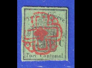 Schweiz Kantonalmarke Genf 5 Cent Wappen Mi.-Nr. 5 gestempelt.