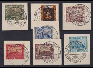 Saar Freimarken 1922-23, Lot 7 Werte mit So.-O DILLINGEN Gew.-Ausstellung 1928