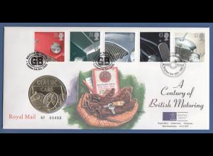Großbritannien Coin-FDC 1996, Britische Automobile, mit Gedenkmedaille.