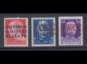 Italien 1943 Alliierte Besetzung Neapel Freimarken Mi.-Nr. 1-3 kpl. Satz **