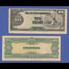 Banknote Philippinen japanische Besetzung 1943, 10 Pesos, gebraucht.