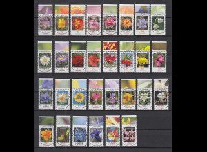 Blumen 2005-Juli2014 alle 30 nasskl. Werte kpl. Oberrrandstücke mit Luxus Voll-O