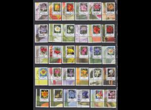 Blumen 2005-Juli2014 alle 30 nasskl. Werte Eckrandstücke UL mit Luxus Voll-O