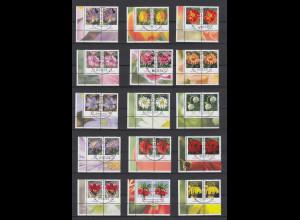 Blumen 2005-Juli2014 alle 30 nasskl. Werte Eckrand-Paare UL mit Luxus Voll-O