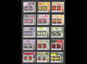 Blumen 2005-Juli2014 alle 30 nasskl. Werte Eckrand-Paare OR mit Luxus Voll-O