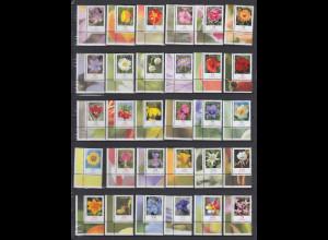 Blumen 2005-Juli 2014 alle 30 nasskl. Werte Eckrandstücke UL postfrisch **